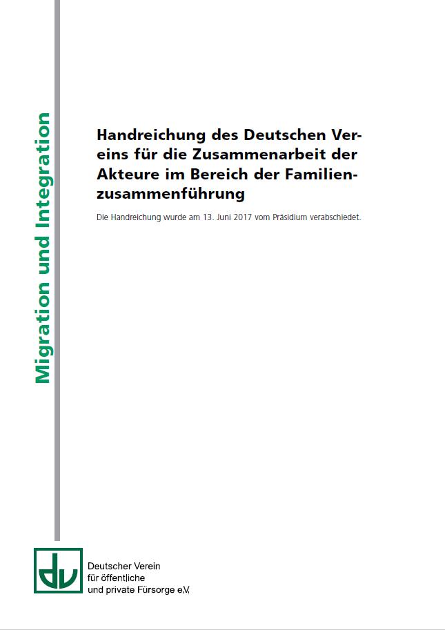 cover der handreichung fr die zusammenarbeit der akteure im bereich der familienzusammenfhrung des deutschen - Schweigepflichtsentbindung Arzt Muster